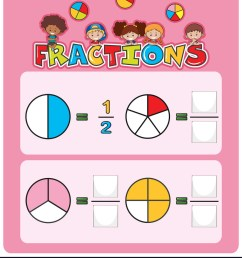 Math fractions worksheet template Royalty Free Vector Image [ 1080 x 871 Pixel ]