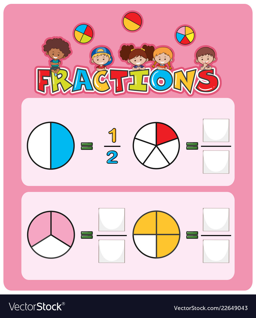 medium resolution of Math fractions worksheet template Royalty Free Vector Image
