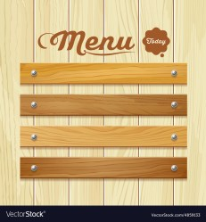 Menu wood board design background Royalty Free Vector Image