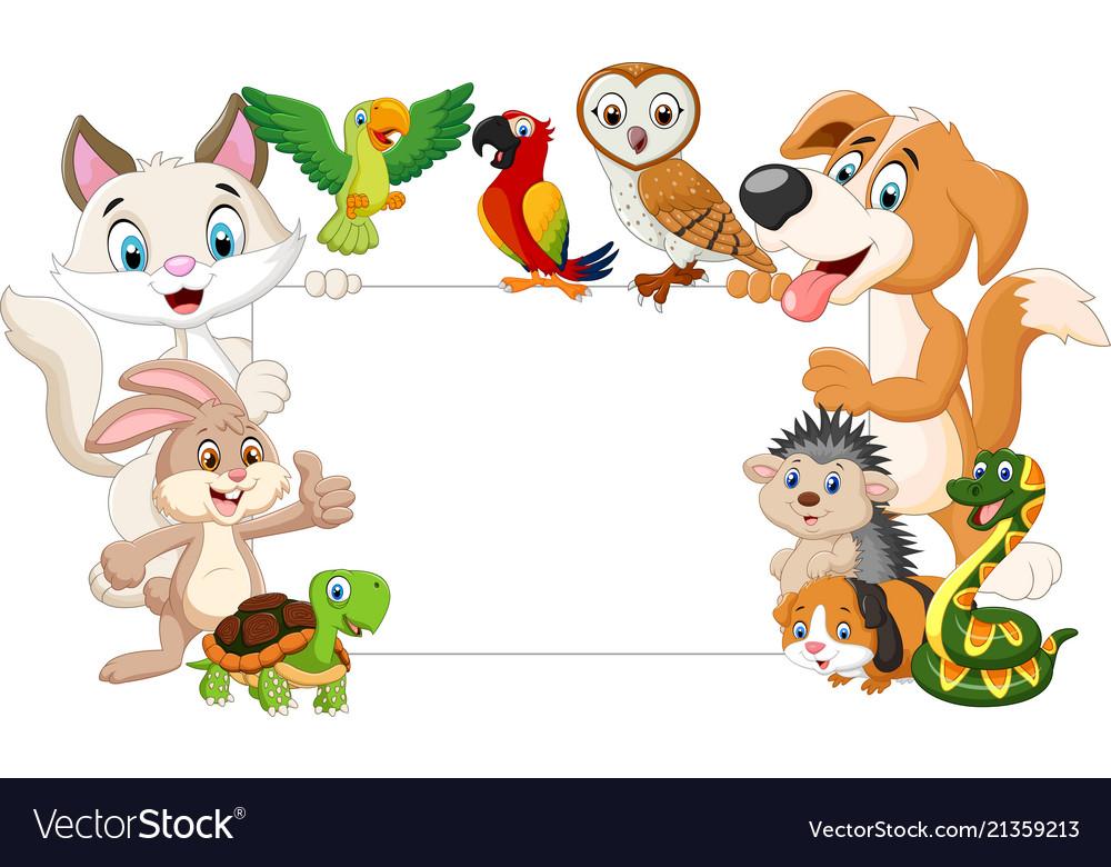 cartoon pets holding blank
