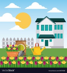 House garden fence potted flowers watering can and