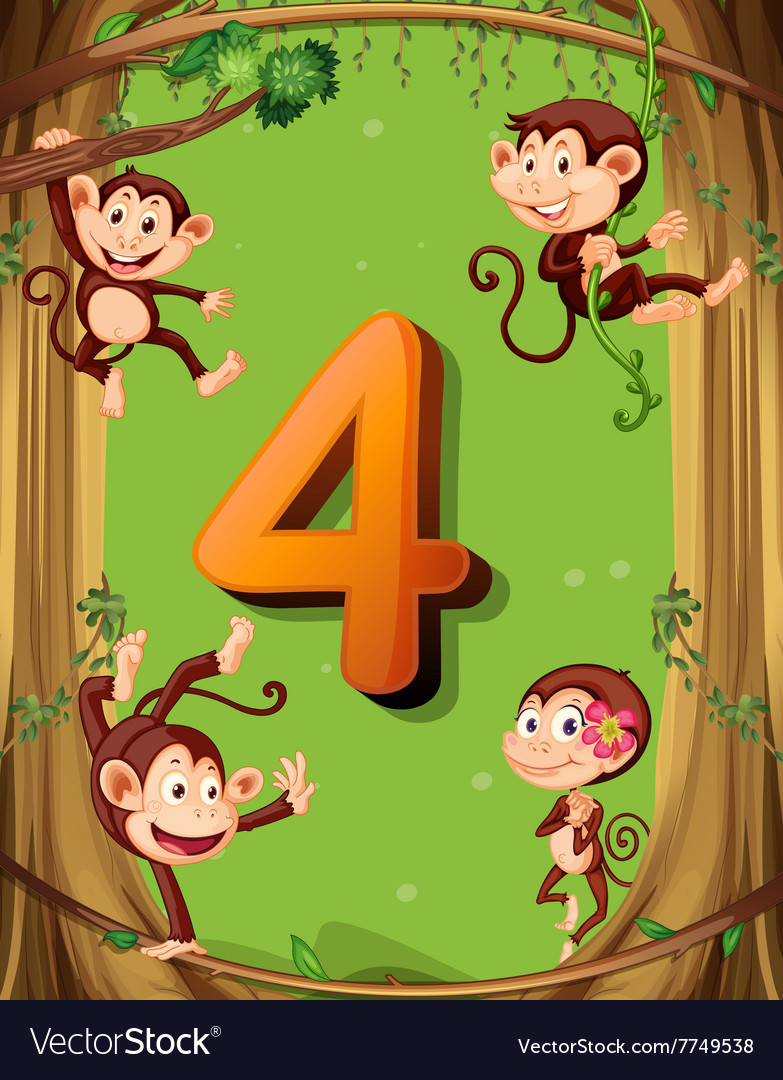 4 Monkeys Images : monkeys, images, Number, Monkeys, Royalty, Vector, Image