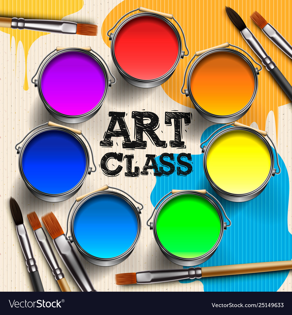 Art Class Workshop Template Design Kids Art Craft Vector Image