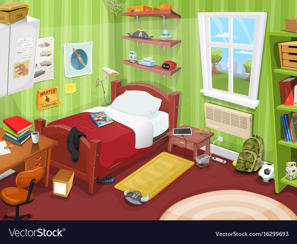 Some Kid Or Teenager Bedroom Royalty Free Vector Image