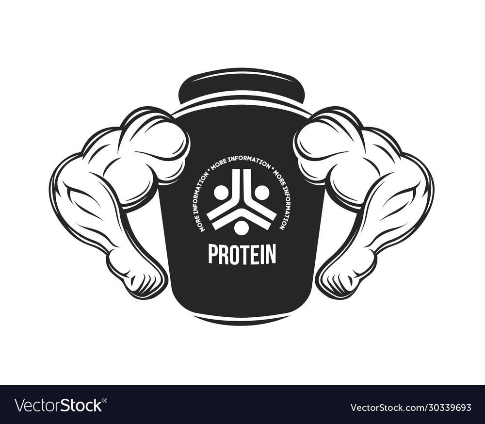 Sport Nutrition Protein Jar Fitness Protein Vector Image
