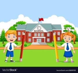Cartoon school kids in school yard Royalty Free Vector Image