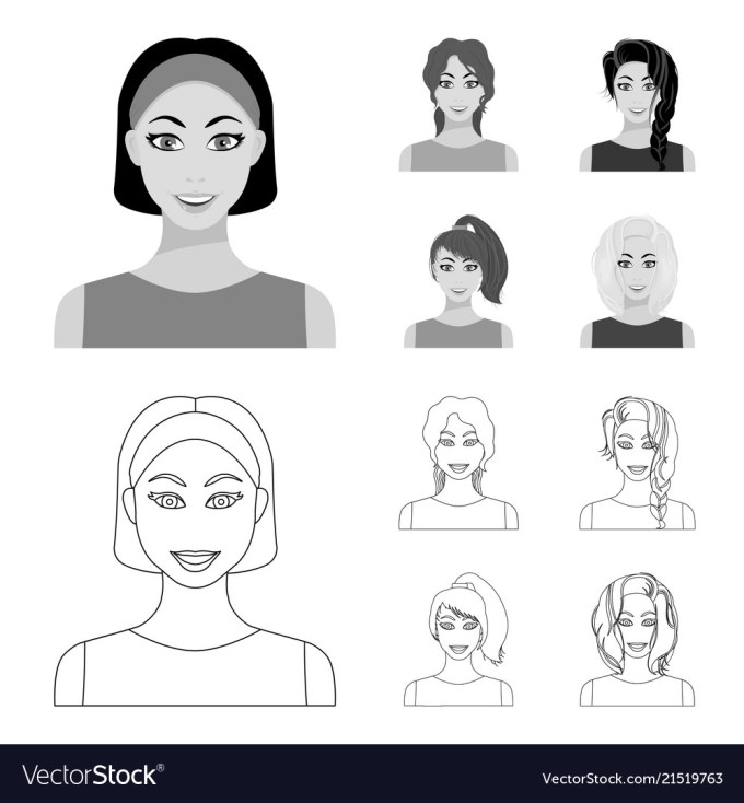 types of female hairstyles outlinemonochrome vector image on vectorstock