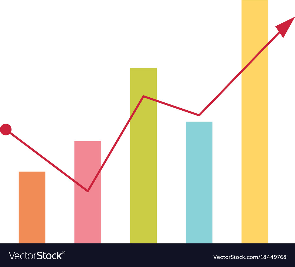 hight resolution of business bar chart with arrow going up vector image