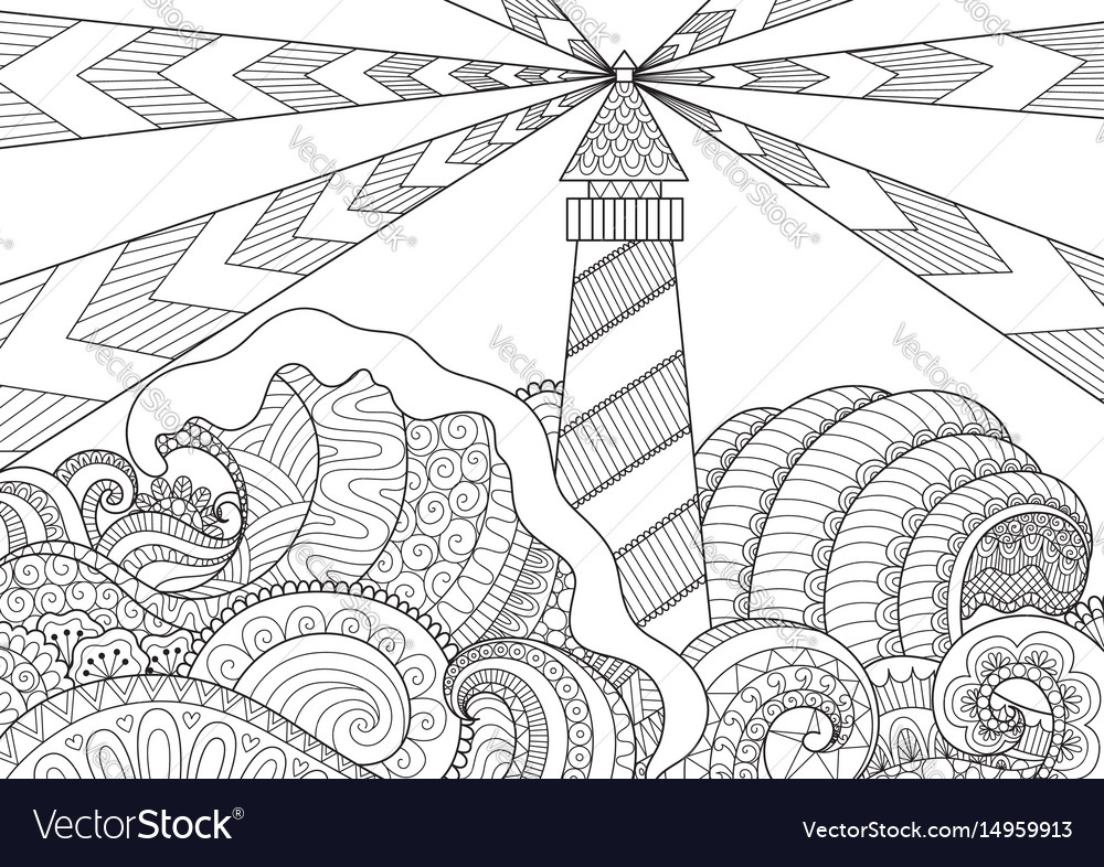 Seascape Line Art Design Royalty Free Vector Image