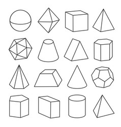 3d geometric shapes outline objects Royalty Free Vector