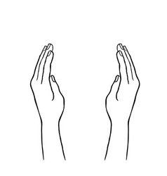 two hands cupping vector