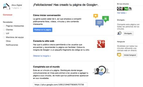 bienvenida paginas google Cómo hacer una página en Google+