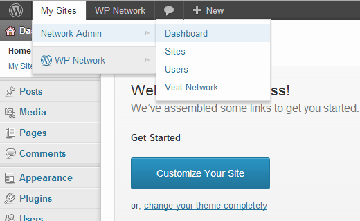 WordPress Multisite Network menu in the admin bar