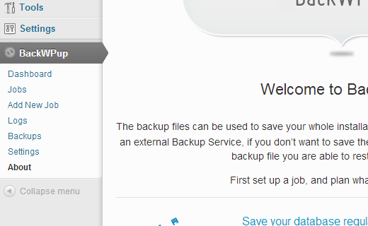 BackWPup Menu