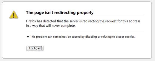 WordPress redirect error displayed in Firefox