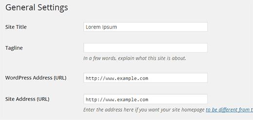 WordPress dan pengaturan Alamat Situs