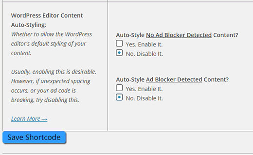Disable auto styling