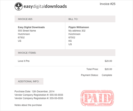 Preview of a invoice generated in easy digital downloads with EDD invoices
