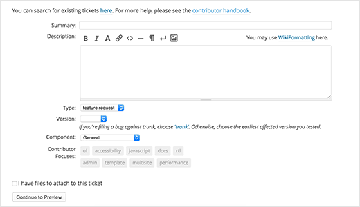 Opening a new ticket for feature suggestion in WordPress