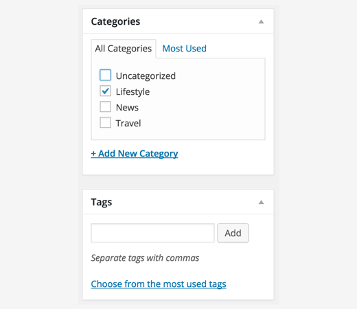 Adding categories and tags to your WordPress posts