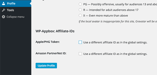Allowing authors to add their own affiliate IDs