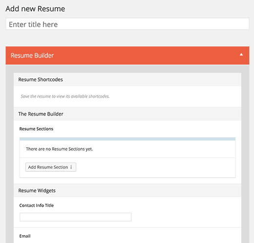 Adding a new resume in WordPress