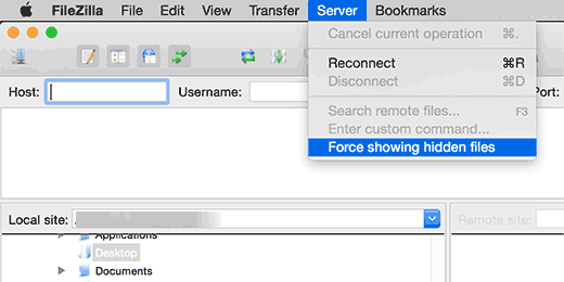 Show hidden files in Filezilla