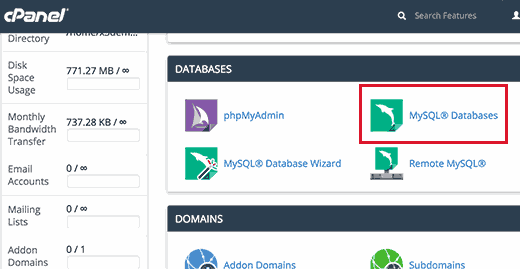 MySQL databases in cPanel