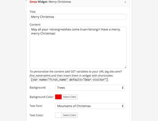 Xmas Widget settings