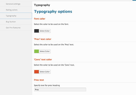 Choose text colors for review box in Typography settings