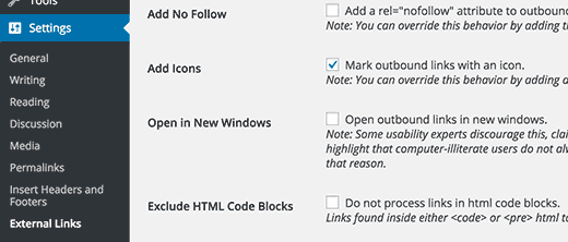 add icon to indicate external links in WordPress