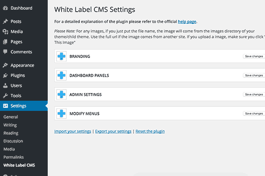 White Label CMS settings page