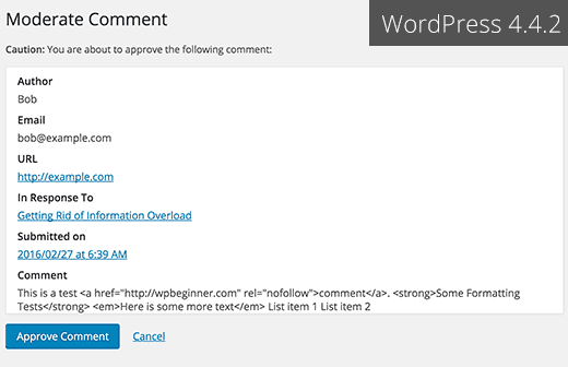 Moderate comment screen in WordPress 4.4.2