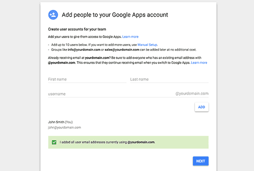 Adding more users to Google Apps