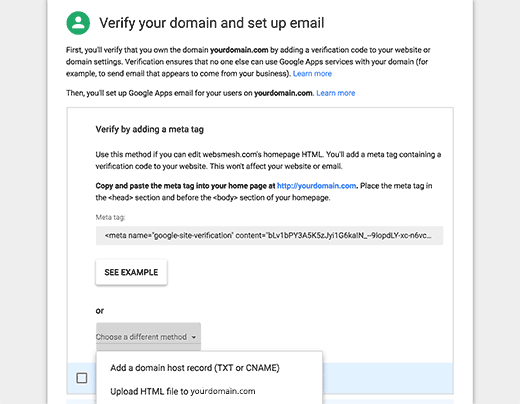 Verify ownership of your domain
