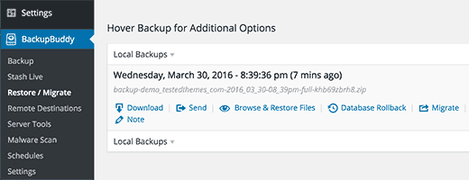 Restore files and database from backup
