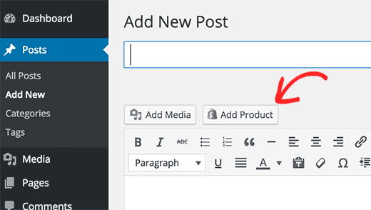 Add product button in WordPress