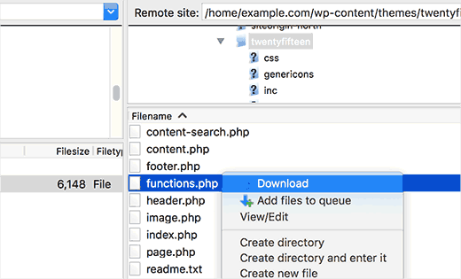 Downloading functions.php file to edit
