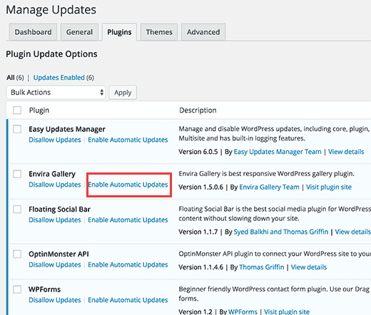 Enable automatic updates for individual plugins