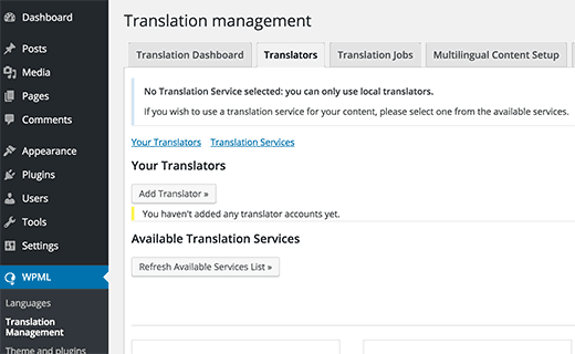 Adding translators using translator management module