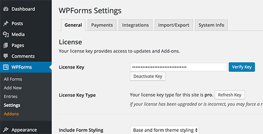 Verify WPForms License