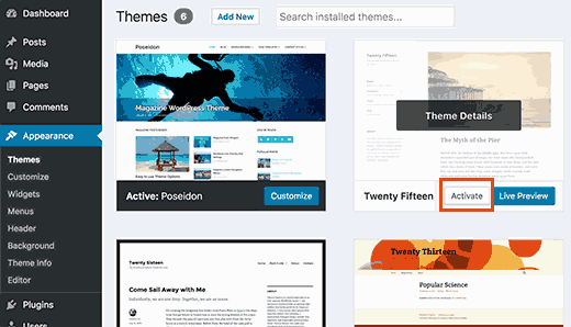 Switch to a default WordPress theme