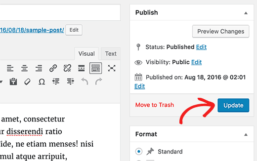 Save your changes by clicking on update or save draft button