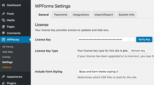 Add your WPForms License key