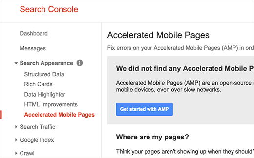 Accelerated mobile pages in Google Search Console