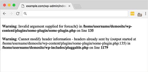 Contoh kesalahan di WordPress yang menyebutkan file pluggable.php