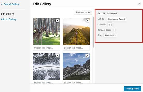 Gallery settings option