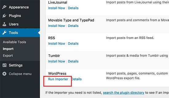 Run WordPress importer