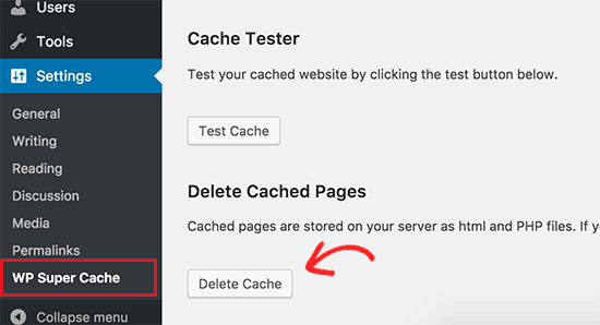 Delete cache in WP Super Cache
