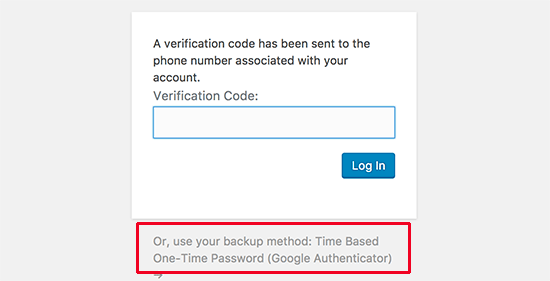Use your backup method to authenticate